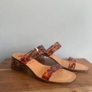 Anthropologie Jon Josef Bakelite Inspired Block Heel Sandals Sz 8.5